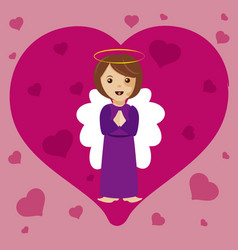 Angel with heart vector