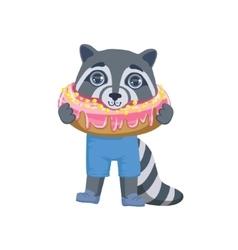 Boy raccoon with giant doughnut vector