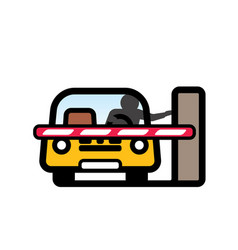 Car at closed barrier gate vector