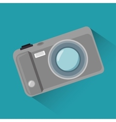 cartoon photo camera blue background design vector image