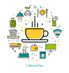 coffee and tea - line art vector image vector image
