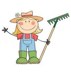 Gardening Girl Waving A Greeting vector image