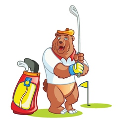 Golf bear cartoon vector