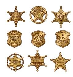 Golgen sheriff badges vector