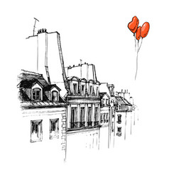 Hand drawn the roof of paris roof urban sketch vector