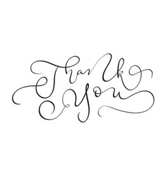 Hand drawn vintage text thank you on white vector