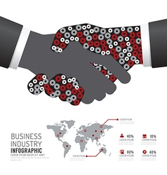 Infographic business industry gear handshake vector image vector image