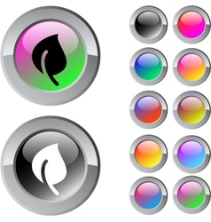 Leaf multicolor round button vector image vector image