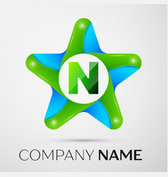 Letter n logo symbol in the colorful star on grey vector