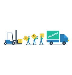 Logistics services warehouse workers with boxes vector