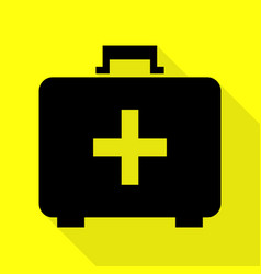 Medical first aid box sign black icon with flat vector