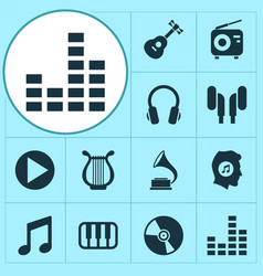 Multimedia icons set with vinyl gramophone play vector