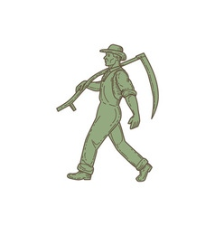 Organic farmer scythe walking mono line vector