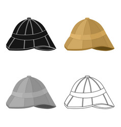 Pith helmet icon in cartoon style isolated on vector