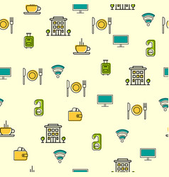 seamless with hotel icons vector image