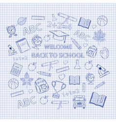 Set Back to school on the notebook sheet vector image vector image