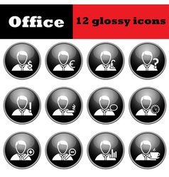 Set of business people glossy icons vector image vector image