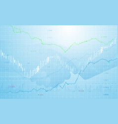 stock market chart with business hand shake vector image