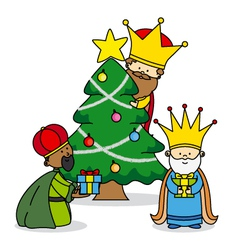 Three kings leaving gifts vector