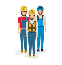 White background with group of builders workers vector