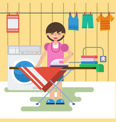 Woman in laundry is washing and ironing vector