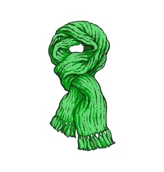 Bright green slip knotted winter knitted scarf vector
