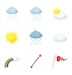 Air temperature icons set cartoon style vector
