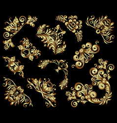 set of gold decorative hand-drawn floral vector image