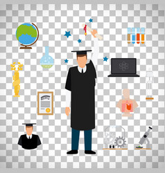 Graduate student with diploma vector