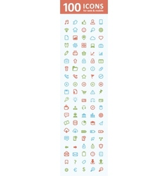 100 icons for web and mobile vector