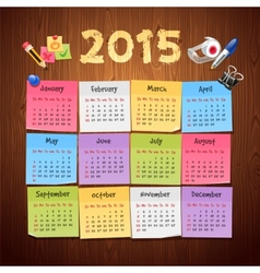 Office stickers calendar 2015 calendar on wooden vector