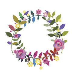 Floral wreath with bay leaves vector