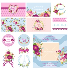 Scrapbook design elements for baby shower vector