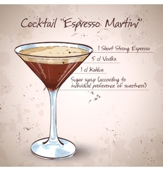 Cocktail espresso martini vector