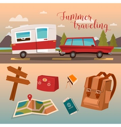 Vacation Time Active Summer Holidays by Camper vector image