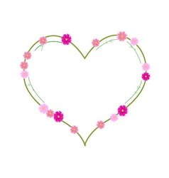 Pink cosmos flowers in a heart shape vector