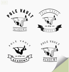 Set of logos with pole vaulting or jumping vector