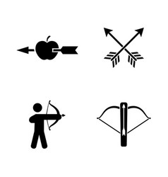 Archer simple related icons vector