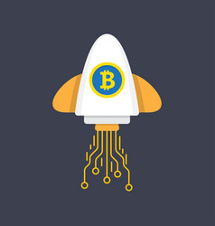 bitcoin rocket ship launching vector image vector image
