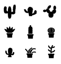 Black cactus icon set vector