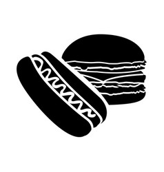 Black hot dog and hamburger icon vector