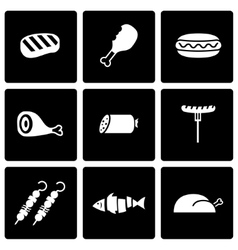 black meat icon set vector image