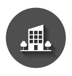 Building with trees icon business with long shadow vector