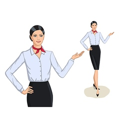 Business style fashion portrait and full length of vector image