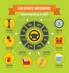 car service infographic concept flat style vector image
