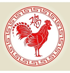 Chinese zodiac paper rooster vector image vector image