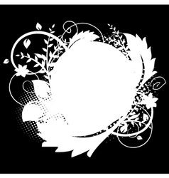 circle frame with floral decorations 1 on black vector image