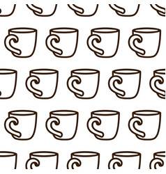 Coffee cup seamless pattern cute black and vector