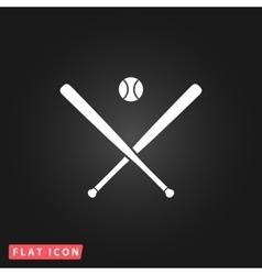 crossed baseball bats and ball vector image vector image