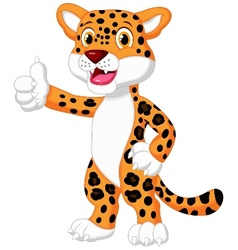 Cute leopard cartoon giving thumb up vector image vector image